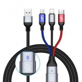 Кабель синхронизации Usams 4в1+ OTG - MicroUSB, USB Type-C, IPhone 1.5m 2A нейлоновый черный (US-SJ420-BL)