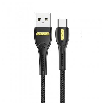 Кабель синхронизации Usams USB Type-C 1m 2.1A нейлоновый черный (US-SJ390-BL)