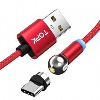 Магнитный кабель для зарядки Topk USB Type-C 1m 2.4A 360° красный (TK28C-VER2-RD)