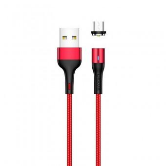 Магнитный кабель для зарядки Usams microUSB 1m 2.4A 360° красный (US-SJ335-RD)