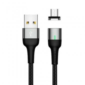 Магнитный кабель синхронизации Usams MicroUSB 1m 2.1A серый (US-SJ328-GR)