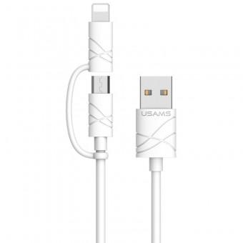 Кабель синхронизации Usams U-Gee Series 2 в 1 IPhone/MicroUSB 1m 2.1A белый (US-SJ077-WT)