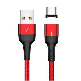Магнитный кабель синхронизации Usams USB Type-C 1m 3A красный (US-SJ327-RD)