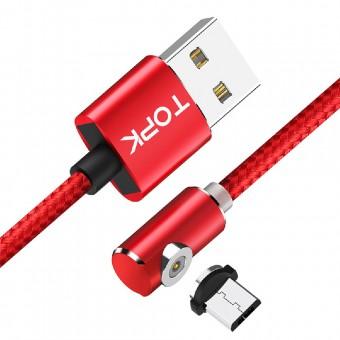 Магнитный кабель для зарядки Topk microUSB 2m 2.4A 360° красный (TK51U2-VER2-RD)