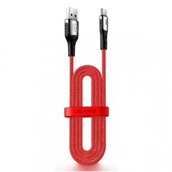 Кабель синхронизации Usams USB Type-C 1.2m 3A с авто отключением нейлоновый красный (US-SJ305-RD)