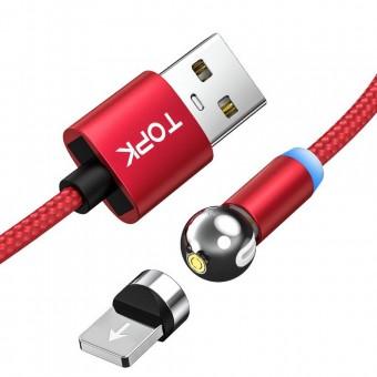 Магнитный кабель для зарядки Topk iPhone 1m 2.4A 360° красный (TK28i-VER2-RD)