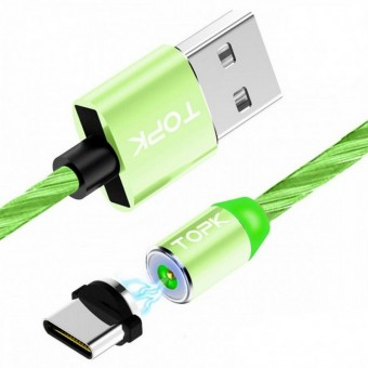 Светящийся магнитный кабель для зарядки Topk USB Type-C 1m 2.4A 360° зеленый (TK67C-VER2-GE)