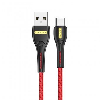 Кабель синхронизации Usams USB Type-C 1m 2.1A нейлоновый красный (US-SJ390-RD)