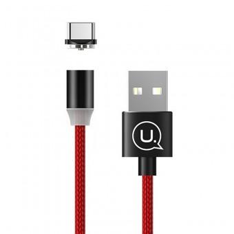 Магнитный кабель для зарядки Usams USB Type-C 1m 2.1A 360° красный (US-SJ293-RD)