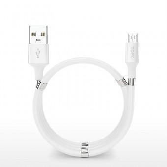 Магнитный кабель зарядки и синхронизации Topk microUSB 1m 3A белый (TK07U-VER2-WT)