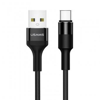 Кабель синхронизации Usams USB Type-C 1.2m 2A нейлоновый черный (US-SJ221-BL)