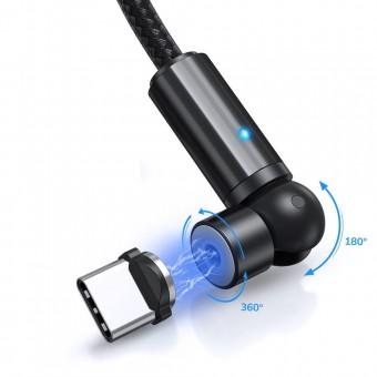 Магнитный кабель для зарядки Topk USB Type-C 1m 2.4A 540° черный (TK68C-VER2-BL)