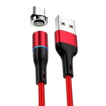 Магнитный кабель синхронизации Usams microUSB 1m 2.4A 360° красный (US-SJ354-RD)