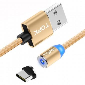 Магнитный кабель для зарядки Topk USB Type-C 1m 2.4A 360° Gold (TK17C-VER2-GL)