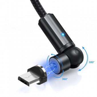 Магнитный кабель для зарядки Topk microUSB 1m 2.4A 540° черный (TK68U-VER2-BL)