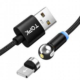 Магнитный кабель для зарядки Topk iPhone 1m 2.4A 360° черный (TK28i-VER2-BL)