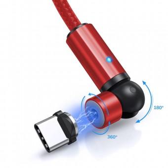 Магнитный кабель для зарядки Topk USB Type-C 1m 2.4A 540° красный (TK68C-VER2-RD)