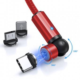 Магнитный кабель для зарядки Topk 3 в 1 1m 2.4A 540° красный (TK68-3-VER2-RD)