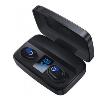 Наушники беспроводные вакуумные TOPK HiFi TWS 5.0 Bluetooth 2000 мАч с функцией Handsfree черные (TKT10-BL)