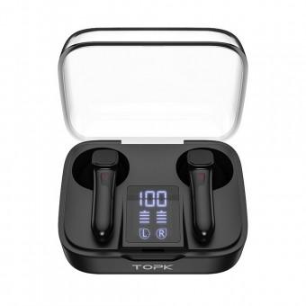 Наушники беспроводные вакуумные TOPK Mini TWS Hi-Fi 5.0 Bluetooth с функцией Handsfree черные (TKT20-BL)