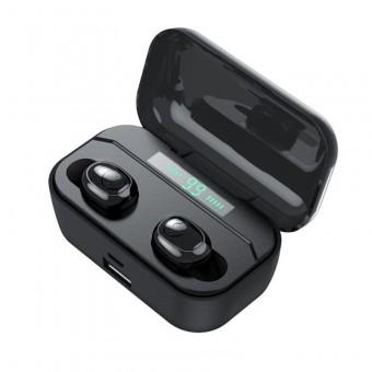 Наушники беспроводные вакуумные TOPK HiFi TWS 5.0 Bluetooth 2200 мАч с функцией Handsfree черные (TKF25-BL)