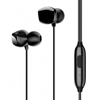 Наушники Usams Hi-Fi Bass проводные с микрофоном 3,5 мм черные (US-SJ265-BL)