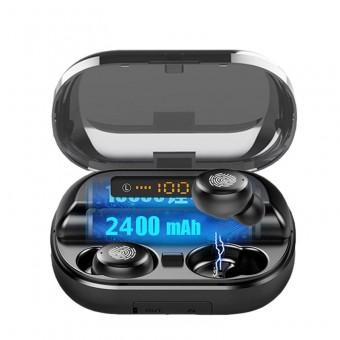Наушники беспроводные вакуумные TOPK HiFi TWS 5.0 Bluetooth 2400 мАч с функцией Handsfree черные (TKF26-BL)