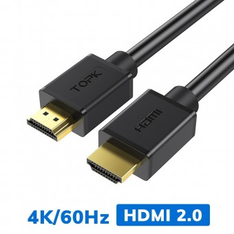 Кабель Topk HDMI to HDMI v2.0, 1.5 m, UltraHD 4K 3D 60Гц черный (TKL36-BL)