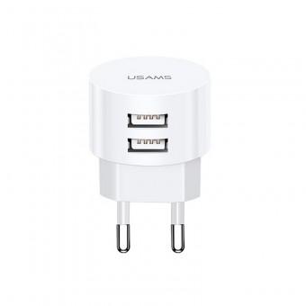 Сетевое зарядное устройство Usams 5V 2.1A 2xUSB White (US-CC080-WT)
