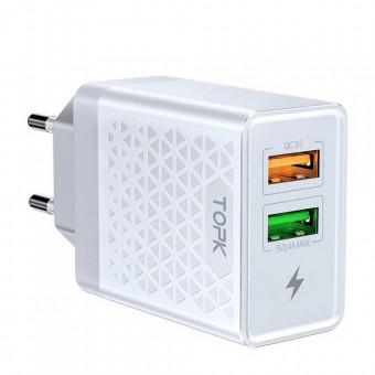 Сетевое зарядное устройство Topk Qualcomm Quick Charge 3.0 28W 2xUSB White (TK254Q-WT)