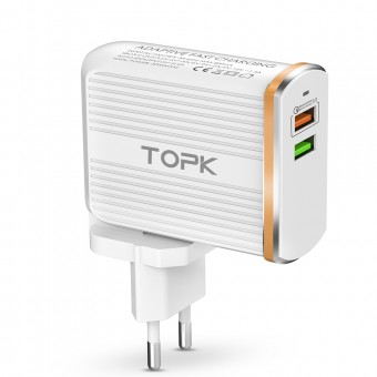 Сетевое зарядное устройство Topk Qualcomm Quick Charge 3.0 30W 2xUSB White (TK232Q-WT)