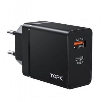 Сетевое зарядное устройство Topk Qualcomm Quick Charge 3.0 36W USB Type-C/PD Black (TK204P-BL)