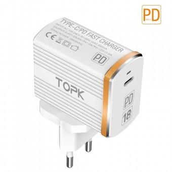 Сетевое зарядное устройство Topk Qualcomm Quick Charge 3.0 18W USB Type-C/PD White (TK1302Q-WT)