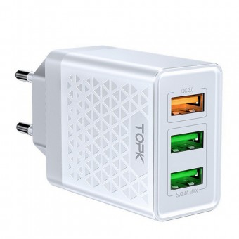 Сетевое зарядное устройство Topk Qualcomm Quick Charge 3.0 30W 3xUSB White (TK354Q-WT)