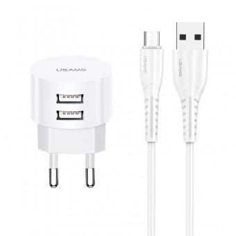 Сетевое зарядное устройство Usams 5V 2.1A 2xUSB + кабель microUSB - комплект White (US-CC082MC-WT)