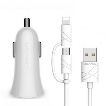 Автомобильное зарядное устройство Usams 5V 2.1A 2xUSB + кабель 2в1 IPhone, MicroUSB - комплект White (CCUSB02-WT)