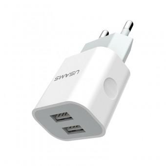 Сетевое зарядное устройство Usams 5V 2.4A 2xUSB White (US-CC023-WT)