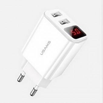 Сетевое зарядное устройство Usams 2xUSB с цифровым индикатором White (US-CC073-WT)