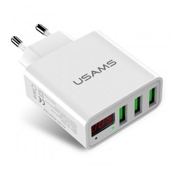 Сетевое зарядное устройство Usams 3xUSB с цифровым индикатором White (US-CC035-WT)