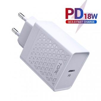 Сетевое зарядное устройство Topk Qualcomm Quick Charge 3.0 18W USB Type-C/PD White (TK154-WT)