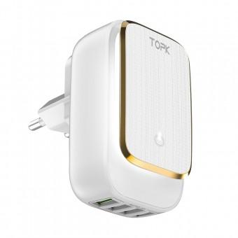 Сетевое зарядное устройство Topk Qualcomm 22W 4xUSB White с подсветкой (TK413-WT)