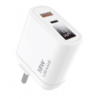 Сетевое зарядное устройство Usams 2xUSB QC 3.0 + Type-C/PD 18W с цифровым дисплеем White (US-CC104-WT)