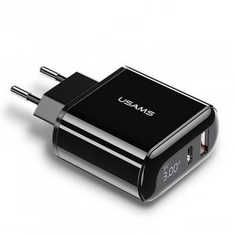Сетевое зарядное устройство Usams 2xUSB QC 3.0 + Type-C/PD 18W с цифровым дисплеем Black (US-CC085-BL)