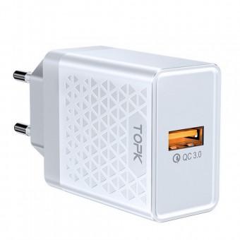 Сетевое зарядное устройство Topk Qualcomm Quick Charge 3.0 18W USB White (TK126Q-WT)