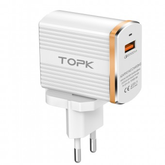 Сетевое зарядное устройство Topk Qualcomm Quick Charge 3.0 18W USB White (TK131Q-WT)