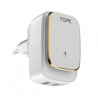 Сетевое зарядное устройство Topk Qualcomm 12W 2xUSB White с подсветкой (TK2205-WT)
