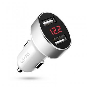Автомобильное зарядное устройство Usams 2.1A 2xUSB Black с цифровым дисплеем White (US-CC045-WT)