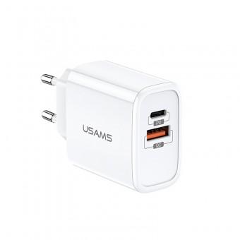 Сетевое зарядное устройство Usams 2xUSB QC 3.0 + Type-C/PD 18W White (US-CC070-WT)