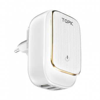 Сетевое зарядное устройство Topk Qualcomm 17W 3xUSB White с подсветкой (TK312-WT)