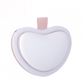 Зеркало с павербанк и подогревом для рук LED подсветка 4500Mah сердце белое (MP-L4-W)